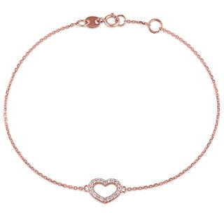 Miadora 1/10ct TDW Diamond Open-Heart Charm Bracelet in 14k Rose Gold