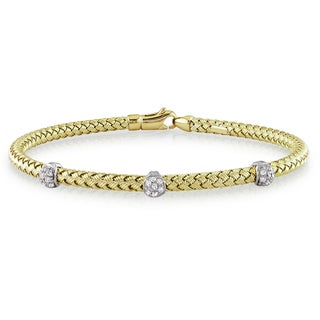 Miadora Signature Collection 14k Yellow Gold 1/4ct TDW Diamond Station Flexible Weave Bangle (G-H, SI1-SI2)