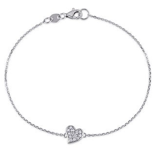 1/10ct TDW Diamond Clustered Heart Charm Bracelet in 14k White Gold by Miadora
