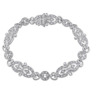 Miadora Signature Collection 14k White Gold 1/2ct TDW Diamond Vintage Filigree Bracelet (G-H, I1-I2)
