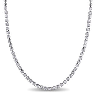 Miadora Signature Collection 18k White Gold 1 5/8ct TDW Diamond Tennis Necklace (G-H, SI1-SI2)