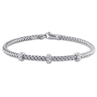3/8ct TDW Diamond Rondelles Station Mesh Station Bracelet in 14k White Gold by The Miadora Signature Collection