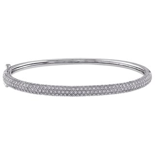 Miadora Signature Collection 14k White Gold 7/8ct TDW Pave Diamond Hinged Bangle