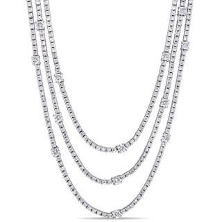 Miadora Signature Collection 18k White Gold 6ct TDW Diamond Layered Station Necklace (G-H, I1-I2)