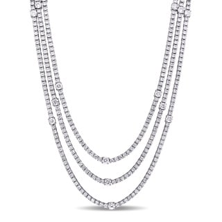 Miadora Signature Collection 18k White Gold 12 1/10ct TDW Diamond Layered Station Necklace