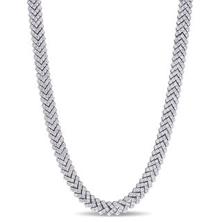 Miadora Signature Collection 18k White Gold 7ct TDW Diamond Tennis Necklace (G-H, SI1-SI2)