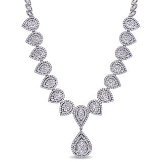 Miadora Signature Collection 18k White Gold 4 7/8ct TDW Diamond Teardrop Necklace