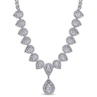 Miadora Signature Collection 18k White Gold 4 7/8ct TDW Diamond Teardrop Necklace (G-H, SI1-SI2)