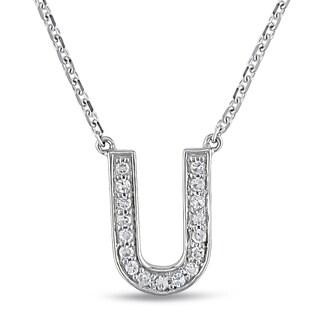 Miadora 14k White Gold 1/10ct TDW Diamond C Initial Necklace