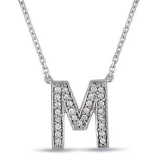 Miadora 14k White Gold 1/10ct TDW Diamond M Initial Necklace