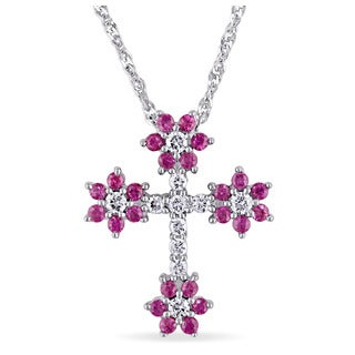 Pink Sapphire and 1/6ct TDW Diamond Children's Floral Cross Necklace in 18k White Gold by The Miadora Signature Collection