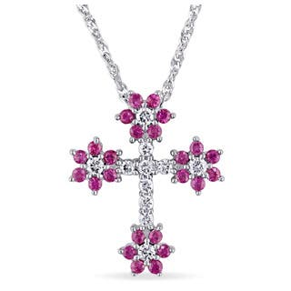 Miadora 18k White Gold Children's Pink Sapphire and 1/6ct TDW Diamond Floral Cross Necklace (G-H, SI1-SI2) https://ak1.ostkcdn.com/images/products/12527605/P19331914.jpg?impolicy=medium