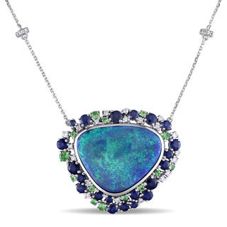 Australian Green Opal Tsavorite Sapphire 1/3ct TDW Diamond Halo Necklace in 14k White Gold by The Miadora Signature Collection