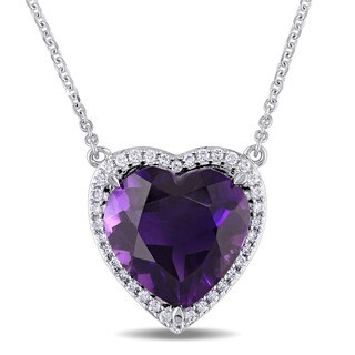 Amethyst and 1/5ct TDW Diamond Heart-Cut Halo Necklace in 14k White Gold by The Miadora Signature Collection