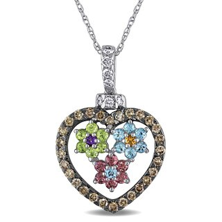 Multi-Colored Gemstone Floral Open-Heart Necklace with 9/10ct TDW Diamond in 18k White Gold by The Miadora Signature Collection