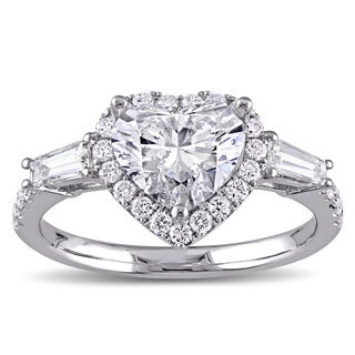 Miadora Signature Collection 14k White Gold 2 1/4ct TDW Heart and Round-Cut Diamond Engagement Ring (G-H, SI1-SI2)