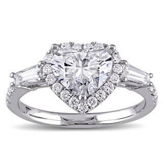 Miadora Signature Collection 14k White Gold 2 1/4ct TDW Heart and Round-Cut Diamond Engagement Ring