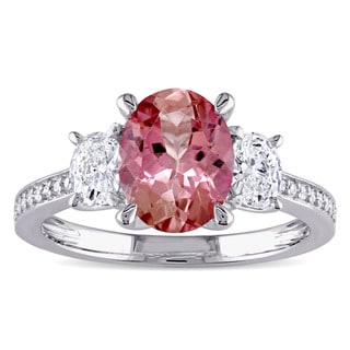 Miadora Signature Collection 14k White Gold Pink Tourmaline and 5/8ct TDW Oval and Round Diamond Engagement Ring (G-H, I1-I2)