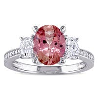 Miadora Signature Collection 14k White Gold Pink Tourmaline and 5/8ct TDW Oval and Round Diamond Eng
