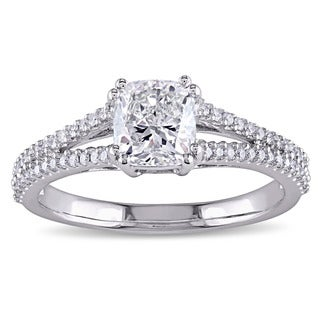 Miadora Signature Collection 14k White Gold 1 1/4ct TDW Cushion and Round-Cut Diamond Split Shank En