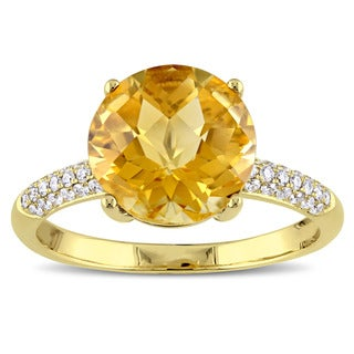 Round Checkered Citrine and 1/5ct TDW Diamond Engagement Ring in 14k Yellow Gold by The Miadora Signature Collection
