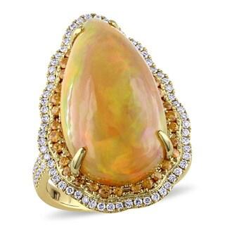 Miadora Signature Collection 14k Yellow Gold Ethiopian Opal Orange Sapphire and 1/2ct TDW Diamond Teardrop Ring (G-H, SI1-SI2)