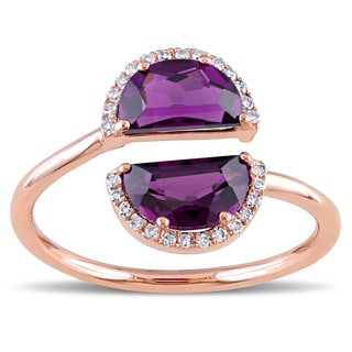 Rhodolite Garnet and 1/10ct TDW Diamond Half-Moon Bypass Ring in 14k Rose Gold by The Miadora Signature Collection