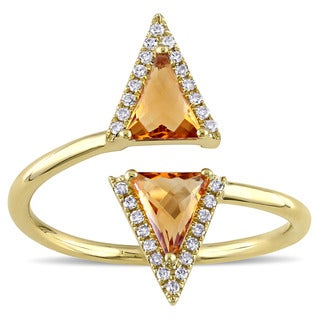 Citrine and 1/10ct TDW Diamond Geometric Bypass Ring in 14k Yellow Gold by Miadora