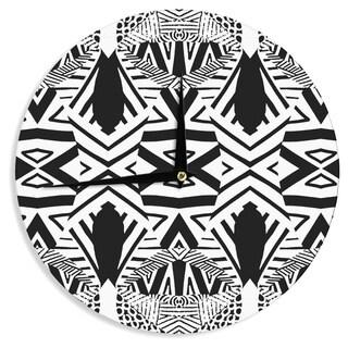 KESS InHouse Pom Graphic Design 'Africa' Black White Wall Clock