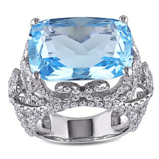 Miadora Signature Collection 14k White Gold Sky-Blue Topaz and 2 1/3ct TDW Diamond Vintage Cocktail Ring (G-H, SI1-SI2)