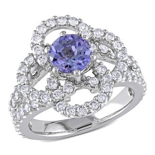 Tanzanite and 1ct TDW Diamond Open Flower Ring in 14k White Gold by the Miadora Signature Collection