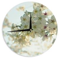 KESS InHouse Robin Dickinson 'Cherry Blossoms' White Flower Wall Clock