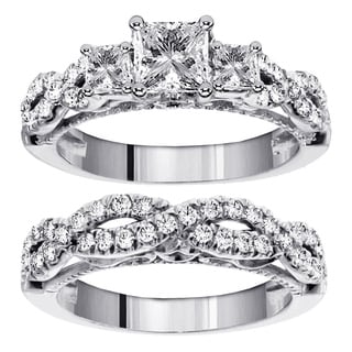 14k/18k Gold 2ct TDW 3-Stone Princess Cut Diamond Braided Engagement Bridal Ring Set