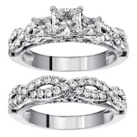 14k/18k Gold 2ct TDW 3-Stone Princess Cut Diamond Braided Engagement Bridal Ring Set