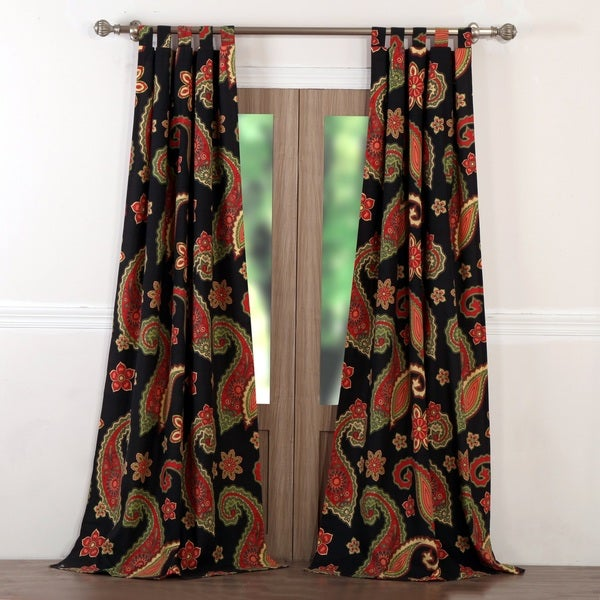 Greenland Home Fashions Midnight Paisley Window Curtain Panel Pair