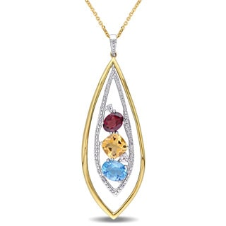 Multi-Gemstone and 1/6ct TDW Diamond Teardrop Necklace in 14k 2-Tone White and Yellow Gold by The Miadora Signature Collection