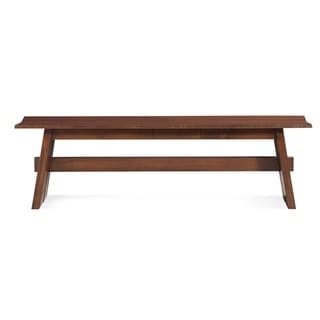 Saloom Walnut Wood 48-inch Split Base Bench