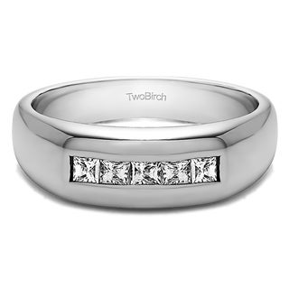 twobirch sterling silver mens wedding fashion ring with cubic zirconia 05