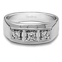 TwoBirch Sterling Silver Men's Wedding Fashion Ring with Cubic Zirconia (0.33 Cts.)