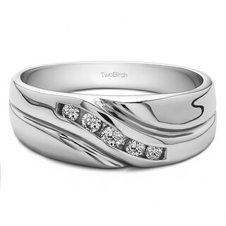 TwoBirch 10k Gold Men's Wedding Fashion Ring with Cubic Zirconia (0.29 Cts.)