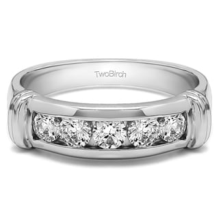 twobirch sterling silver mens wedding fashion ring with cubic zirconia 049
