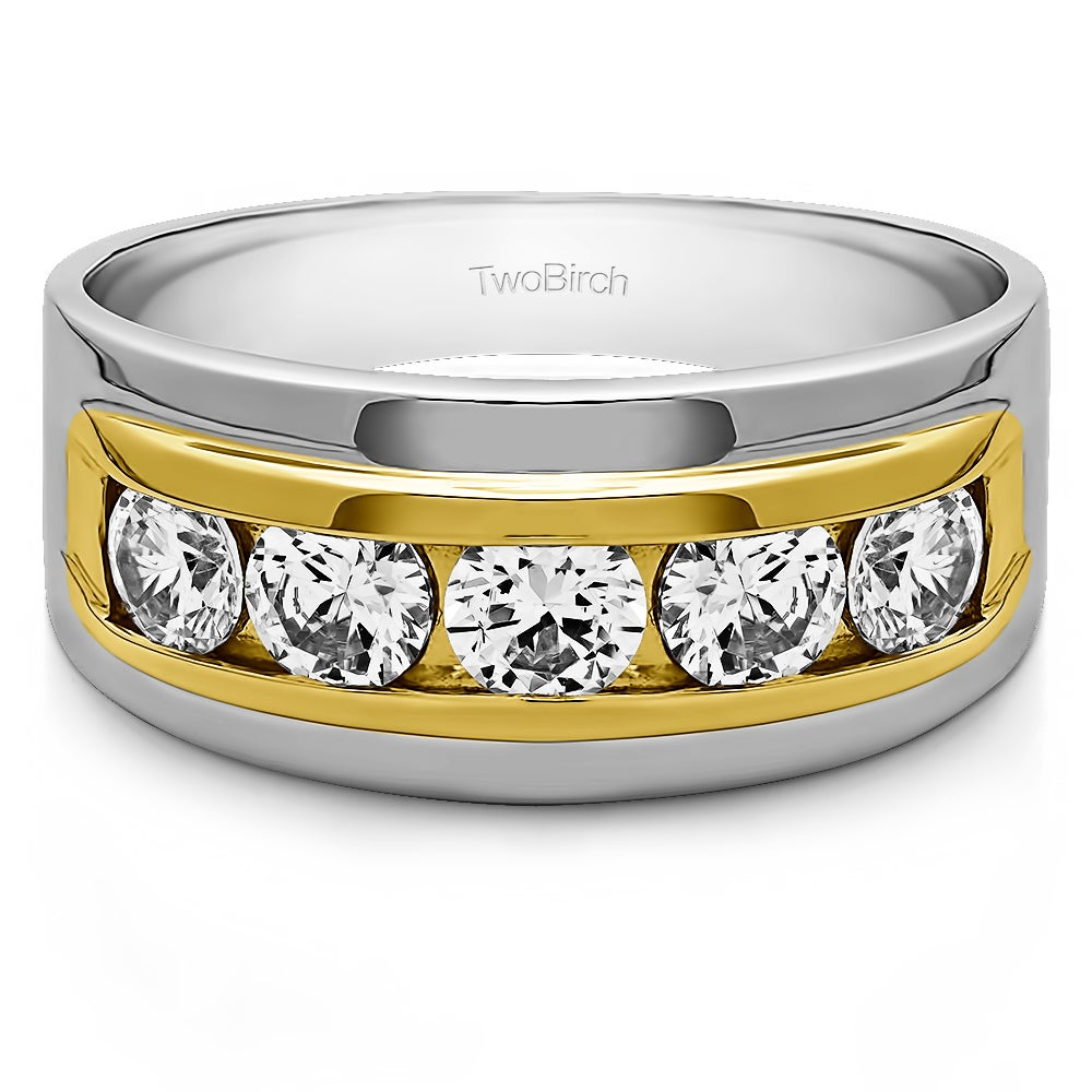 TwoBirch 14k Gold Men's Wedding Fashion Ring with Cubic Z...