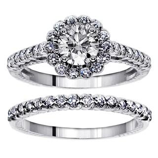 14k/ 18k Gold 1 1/2ct TDW Halo Diamond Engagement Bridal Ring Set (G-H, SI1-SI2)
