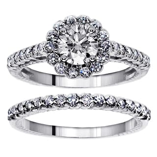 Platinum 1 1/2ct TDW Halo Diamond Engagement Bridal Ring Set