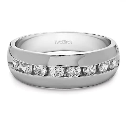 TwoBirch Sterling Silver Men's Wedding Fashion Ring with Cubic Zirconia (0.52 Cts.)