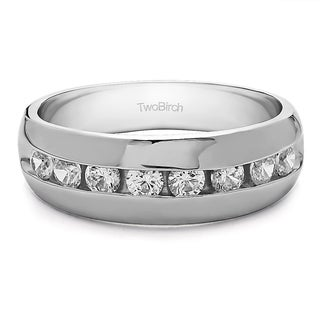 Sterling Silver Men's Wedding Fashion Ring with Cubic Zirconia (0.52 Cts.)
