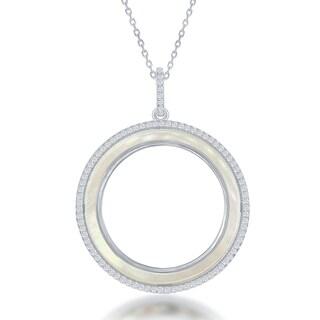 La Preciosa Sterling Silver Mother of Pearl/Abalone Circle Pendant