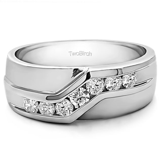 Sterling Silver Men's Wedding Fashion Ring with Cubic Zirconia (0.13 Cts.)