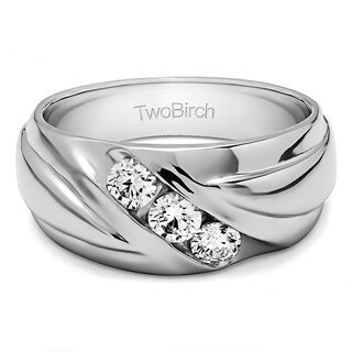 TwoBirch Sterling Silver Men's Wedding Fashion Ring with Cubic Zirconia (0.6 Cts.)