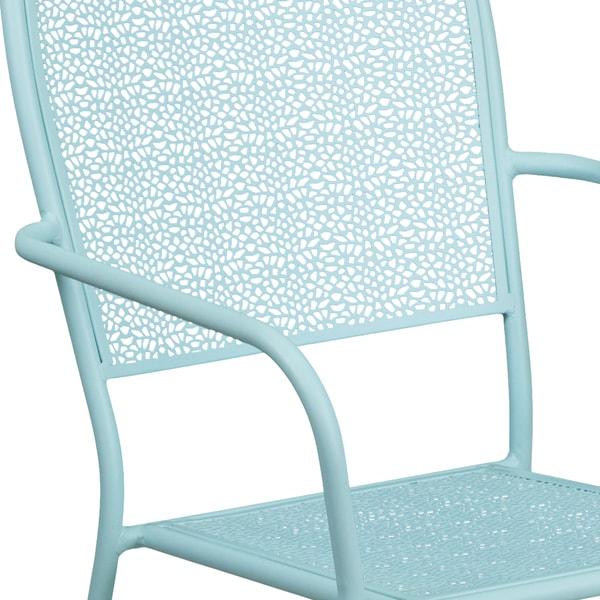 Indoor /& Outdoor Sky Blue Metal Restaurant Patio Stack Chair w// Arm /& Round Back